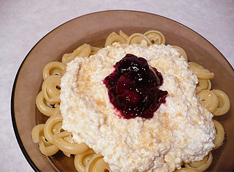 Pasta with Polish sweet curd cheese and cherry jam